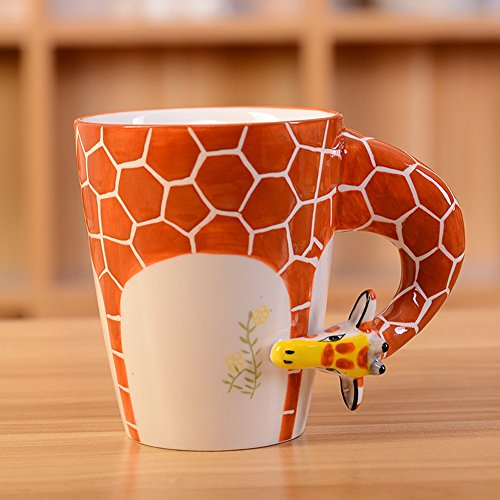 3D Pure Hand-painted Cute Animal Ceramic Coffee Mug Coffee Cup (Giraffe) by CrazySell de Crazysell