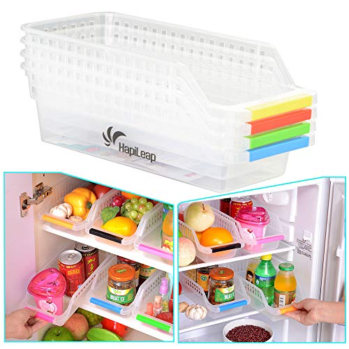 CrazySell Refrigerator Durable Storage Organizer Fruit Handled Kitchen Collecting Box Basket Rack Stand Basket Container (4Pcs) by CrazySell de Crazysell