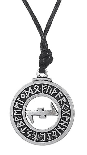 Dawapara Pagan Wolfangle Protection Symbole Elder scandinaves Collier Pendentif Runes Viking Bijoux de Dawapara