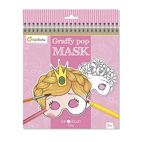 Avenue Mandarine GY021O Un carnet de Coloriage masque -Graffy Pop Mask - Fille de Avenue Mandarine