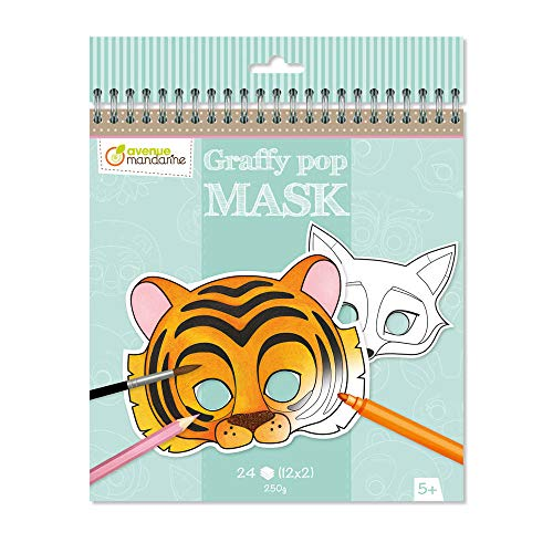 Avenue Mandarine GY023O Un carnet de Coloriage masques - Graffy Pop Mask - Animaux de Avenue Mandarine