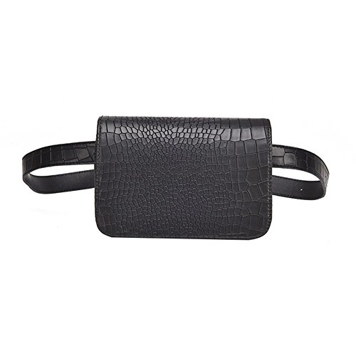 Demiawaking Sac Banane Femmes PU Cuir Packs Fanny Sac à Main Ceinture de Voyage Portefeuille Pochette de Course Casual Flap Shoulder Purse 18 x 12 x 5 cm (Noir) de Demiawaking