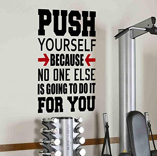 DesignDivil Push Yourself Because no One Else is Going to do it for You Sticker Mural Empire Quote-Health et Spinning Kettlebell pour entraînement Fitness Boxe UFC T-Shirt Motif MMA de DesignDivil