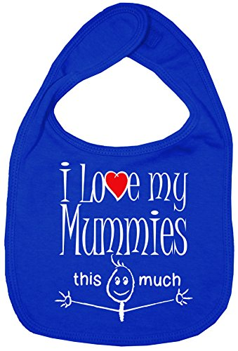 Dirty Fingers, I love my Mummies this much, Bébés Bavoirs, Bleu Royal de Dirty Fingers