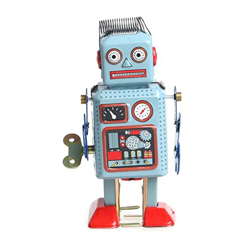 ECMQS Vintage Mécanique Mécanique Wind Up Walking Robot Tin Toy Enfants Gift Collection de ECMQS