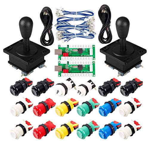 Arcade Game DIY partie pour Mame USB Cabinet 2x Zero Delay USB Encoder pour PC Jeux + 2x 8 Way Joystick + 18x Arcade Push Button (Y compris 1p / 2p Start Buttons) Kits de couleurs multiples de EG STARTS