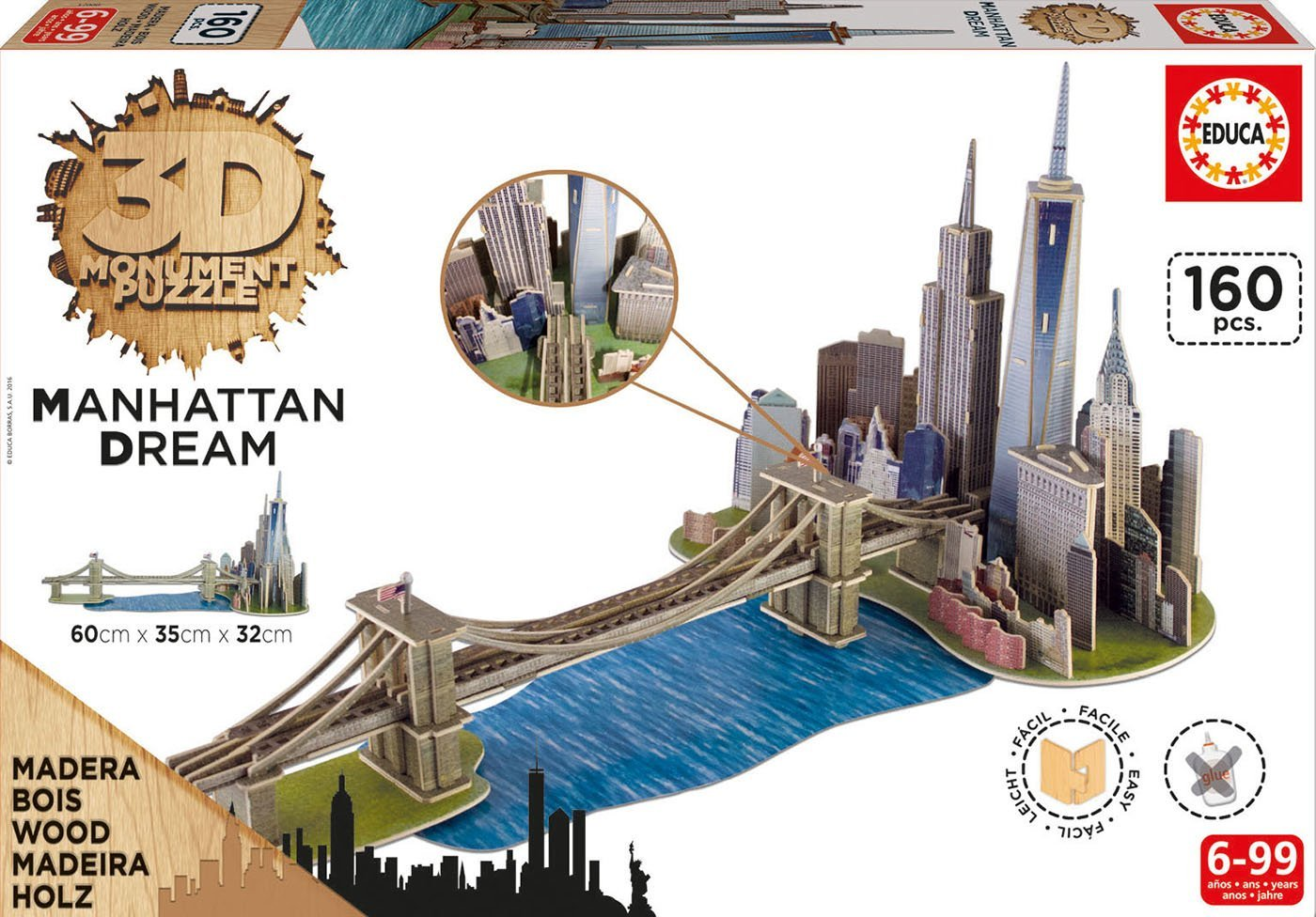 Puzzle 3D en Bois - Brooklyn Bridge, Manhattan Dream de Educa
