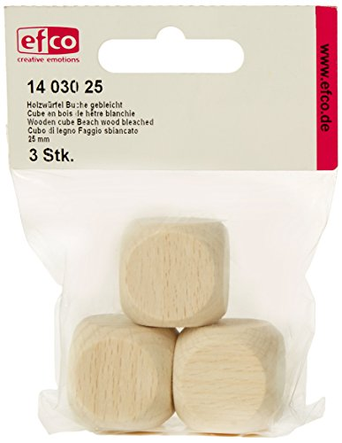 Efco Cube en bois Bois de plage 25 mm Lot de 3. Blanchiment, marron de Efco