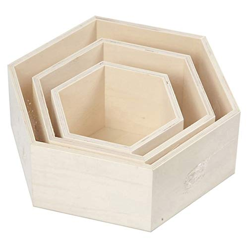 Efco Wood Lot de Boîtes non traité hexagonal, Marron, Lot de 3 de Efco