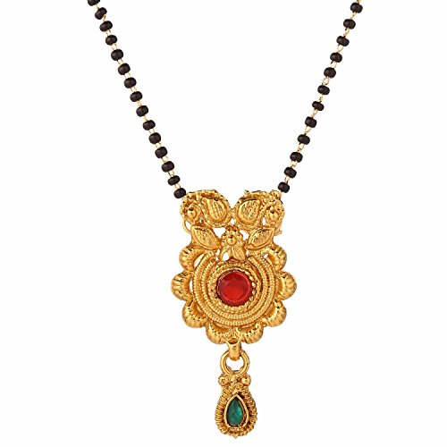 Efulgenz Indian Bollywood Traditional Gold Plated Ruby Emerald/Color CZ Stone Mangalsutra Pendant Necklace Jewelry with Chain for Women de Efulgenz
