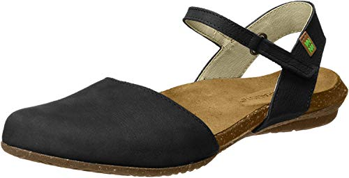 S.A N5002 Pleasant Leaves, Ouvrez Toe Femme, Noir (Black), 36 EUEl Naturalista