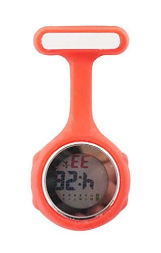 Ellemka JCM-330 Montre Infirmière Digital-e Numérique LCD FOB de Tunique EL Rétro-Eclairage à Clip Attache Epingle Broche Silicone Mouvement Quartz Docteur Paramédical Couleur Rouge. de Ellemka
