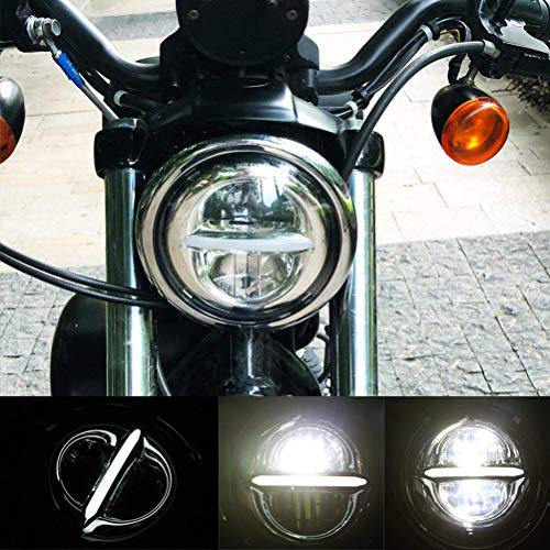 5-3/4 5.75 inch Round Halo LED Headlight DRL Bulb Kit for Harley Davidson Dyna Softail Sportster Wide Glide Iron 883 Street Bob Low Rider Motorcycle Reflector Headlamp de Esyuto