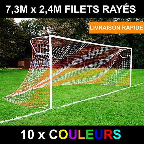 """Filets Buts de Foot à 11 de 7,3x2,4x0,9x2,7 m, de 2 Couleurs [Net World Sports] (Blanc/Bleu, Paire)"" de EuroMarkt"