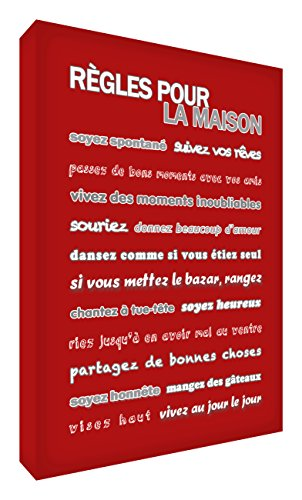 Feel Good Art Bloc Décoratif Règles pour la Maison Rouge 10,5 X 7,4 X 2 cm de Feel Good Art