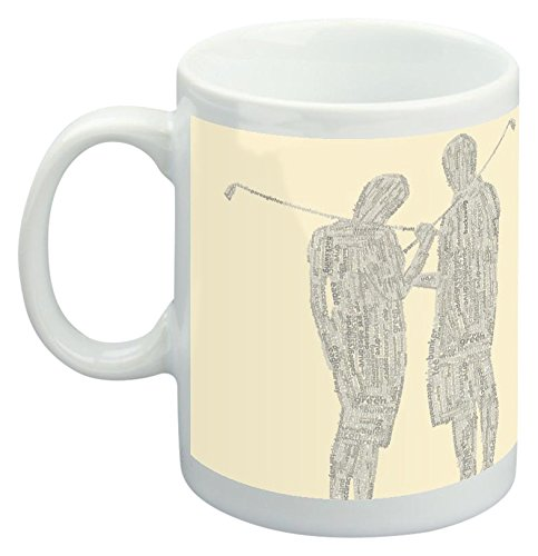 Feel Good Art Mug en céramique Design Golf Typographie moderne couple (Crème) de Feel Good Art
