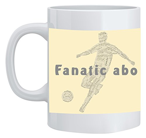 Feel Good Art Mug en céramique football Player Design Typographie moderne (Crème) de Feel Good Art