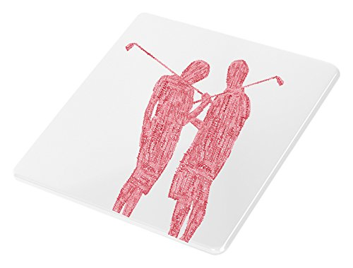 Feel Good Art brillant Dessous-de-verre en Typographie moderne couple de Golf Design Tons (Rouge) de Feel Good Art