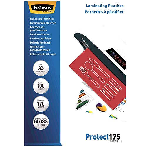 Fellowes 5308803 Protect 175 microns A3 pochettes de plastification brillantes - Pack de 100 Transparent de Fellowes