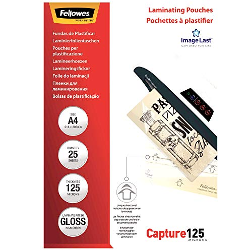 Fellowes 5396301 Pochettes de Plastification 125 Microns A4 par 25 Transparent de Fellowes