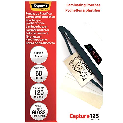 Fellowes 5396602 Pochettes de plastification 125 microns 54 x 86 mm par 50 Transparent de Fellowes