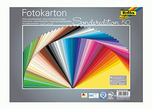 Folia Carton Photo 6125/50 99 (300 g/m², 25 x 35 cm, 50 Feuilles, Assorties) de Folia