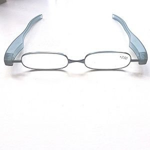 Reading Glasses Slate Blue Big Panini Pod Folding Readers-Strength +2.00 de For Your Eyes Only