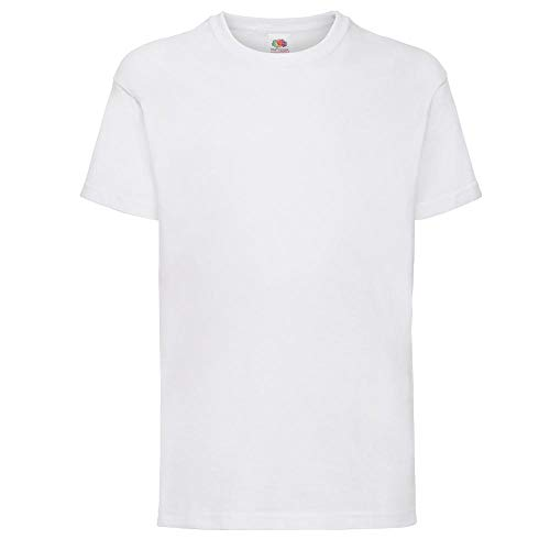 Fruit of the Loom - T-shirt -  - Uni - Crew - Manches courtes Garçon Blanc blanc 14-15 Years de Fruit of the Loom