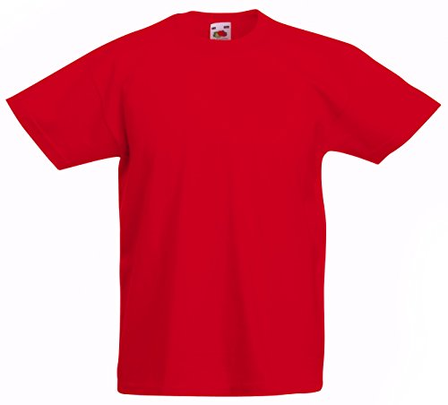 Fruit of the Loom - T-shirt -  - Uni - Crew - Manches courtes Garçon rouge Rouge 14-15 Years de Fruit of the Loom