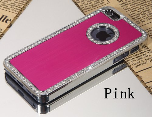 Posh Style Apple Iphone 6 (4.7 inch) Deluxe Hot Pink brushed aluminum diamond case bling cover for Apple Iphone 6 (4.7 inch) de G4GADGET®
