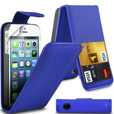 Value Pack Apple iPhone 5 Bleu foncé 5S flip PU Housse en cuir pour Apple iPhone 5 5S G5GADGET® de G4GADGET®