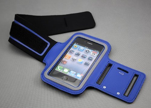 Value Pack Slim Fit Bleu marine Courir Brassard Cover Case pour Apple iPhone 4 / 4S de G4GADGET®