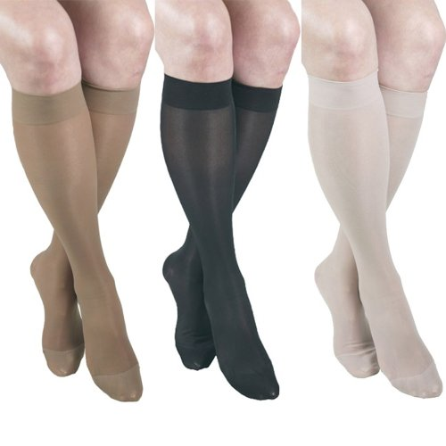 GABRIALLA Sheer Knee Highs, Compression (23-30 mmHg) Mixed Colors, XXLarge, 3 Count by Gabrialla by GABRIALLA de Gabrialla
