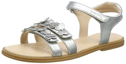 Geox Karly I, Sandales Bout Ouvert Fille, Argent (Silver), 24 EU de Geox
