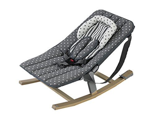 Geuther Transat Rocco, Bois Naturel, Assise Tissu Pois Gris, Adaptable sur chaise haute Tamino de Geuther