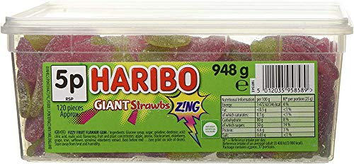 Giant Sour Jelly Strawbs (120 pieces) de HARIBO