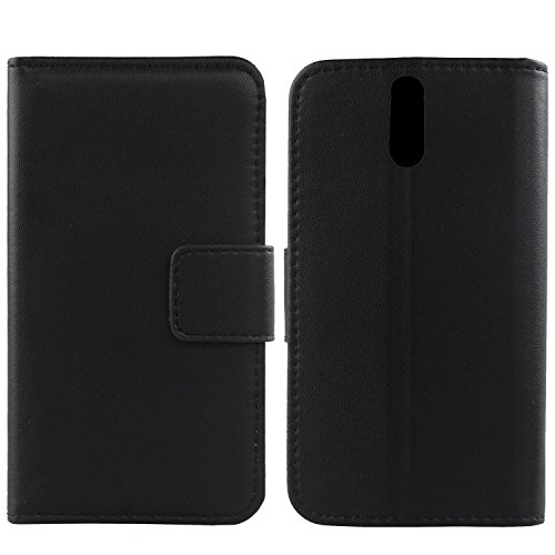"Gukas Design Veritable Cuir Etui Pour Logicom ID bot 553+ 5.5"" Housse Coque Premium Case Cover Flip Protecteur Portefeuille Genuine Leather Wallet (Noir) de Gukas"