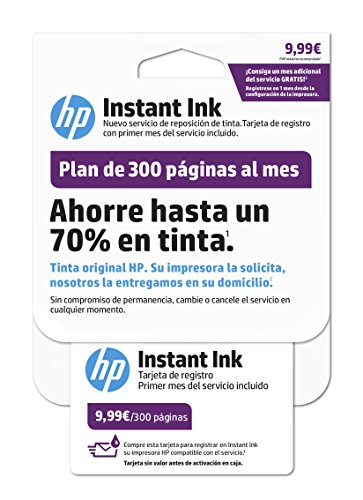 HP Instant Ink – Carte d'enregistrement, Blanc blanc blanc 300 páginas de HP