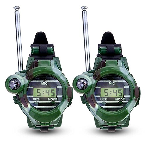 Enfants talkie-walkies Horloge Walky Talky Lot de jouets armée camo Outdoor 150 m long Range Two Way Radios pour enfants Cadeaux Camouflage Watch 7 en 1 (2 Pack) de Hangang