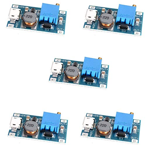 HiLetgo 5pcs 2A DC-DC Boost Step up Conversion Module MicroUSB 2V-24V to 5V-28V 9V 12V 24V de HiLetgo