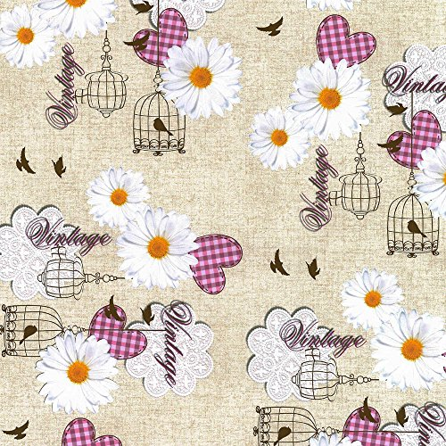 Nappe toile cirée PVC Rectangulaire Metrage 140 x 180 cm Rose de Home Direct