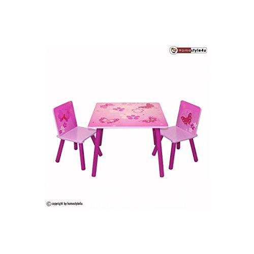 Ensemble Table et 2 chaises Motif de papillon de Homestyle4u
