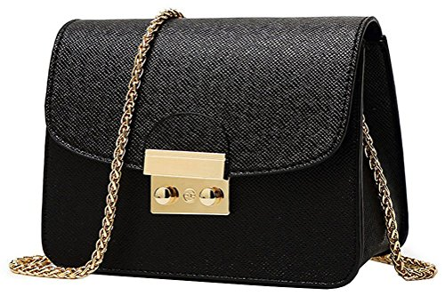 Honeymall Sac à bandoulière Femmes Couleur unie Chaîne métallique petit Cross body Messenger Sac d'épaule Fourre-tout Sac de messager Sac à main noir de Honeymall