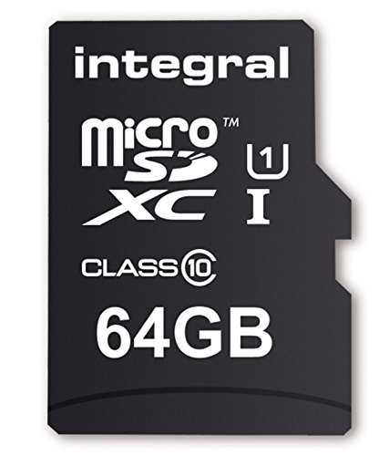Integral Europe INMSDX64G10-40U1 Carte Mémoire Micro SDXC 64 Go Classe 10 de INTEGRAL EUROPE