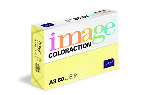 Image Coloraction Ramette 500 feuilles A3 297 x 420 mm 80 GM2 fsc4 Papier d'impression – jaune citron de Image Coloraction