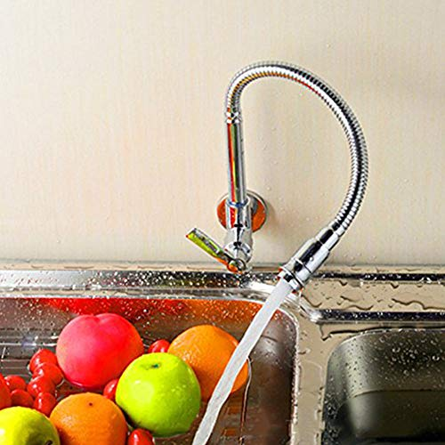 360 Degree Swivel monotube poignée Robinet Chrome Finish Water Power Kitchen Sink Tap Eau froide Robinets Simple Murale de Inchant