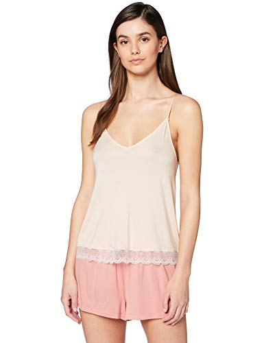 Iris & Lilly Haut de Pyjama Dentelle Femme, Orange (Light Peach), Medium de Iris & Lilly
