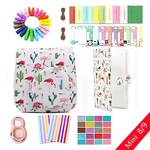 Jxe Lots d'accessoires 8 en 1 pour Fujifilm Instax Mini 8/9 Camera (Flamingo Cactus Coque/Close-up Lens/Album/Mur accrocher Cadres/Film Stickers/Coin Autocollant) de JXE