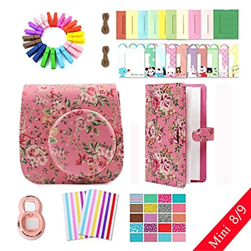 Jxe Lots d'accessoires 8 en 1 pour Fujifilm Instax Mini 8/9 Camera (Fleur Rose Coque/Close-up Lens/Album/Mur accrocher Cadres/Film Stickers/Coin Autocollant) de JXE