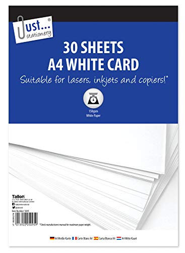 Just Stationery 30 feuilles de bristol Blanc A4 de Just Stationery